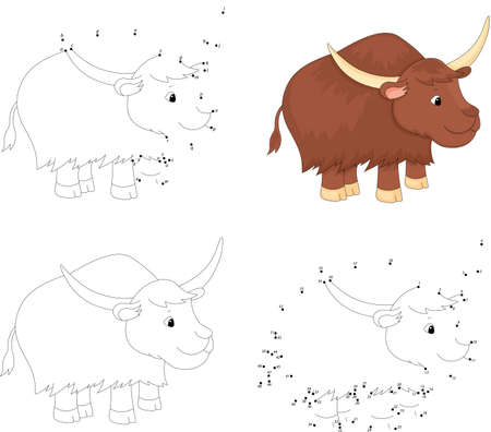 Cartoon yak. Coloring book and dot to dot educational game for kids