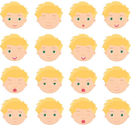 cunning: Boy emotions: joy, surprise, fear, sadness, sorrow, crying, laughing, cunning wink. Vector cartoon illustration