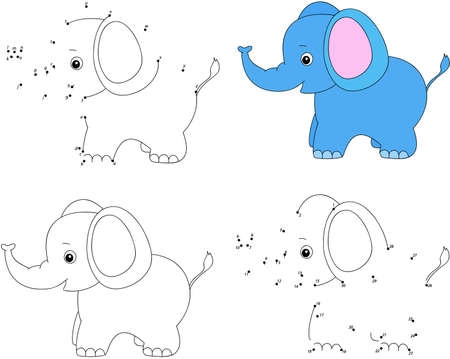 Cartoon elephant. Coloring book and dot to dot educational game for kids Ilustração