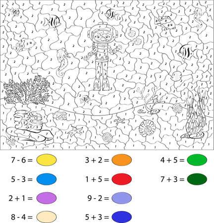 ocean floor: Diver on the ocean floor. Color by number educational game for schoolchild and preschool kids