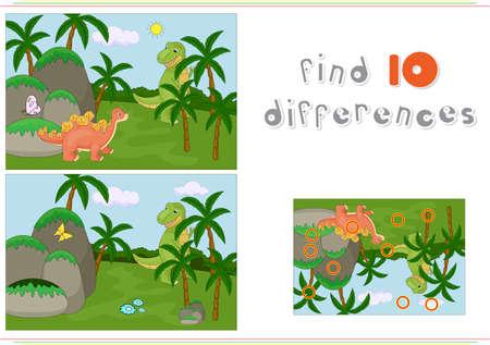 재미 귀여운 어룡의 총칭 및 선사 시대 자연의 배경에 플 리오 사우루스. 아이들을위한 교육 게임 : 열 차이를 찾을 수