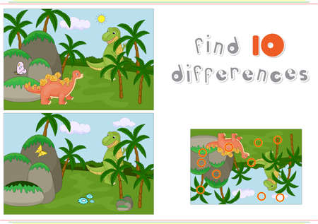 Funny cute ichthyosaurus and pliosaurus on the background of a prehistoric nature. Educational game for kids: find ten differences