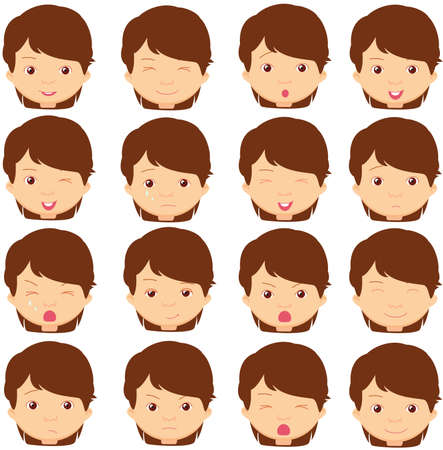 cunning: Brunette girl emotions: joy, surprise, fear, sadness, sorrow, crying, laughing, cunning wink. Vector cartoon illustration