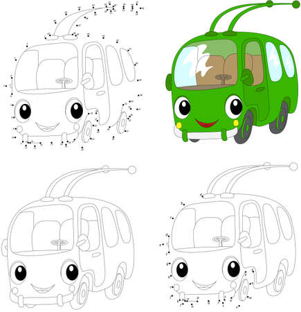 trolleybus: Cartoon green trolleybus. Coloring book and dot to dot educational game for kids
