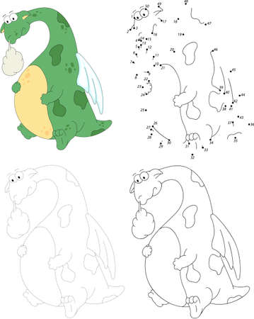 Cartoon dragon with a sick stomach. Dot to dot educational game for kids Ilustrace