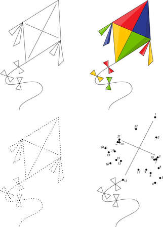 hollyday: Cartoon colorful kite. Dot to dot educational game for kids