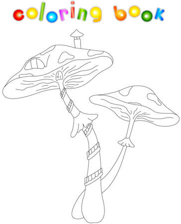 fairy toadstool: Cartoon mushroom house. Coloring book for kids Illustration