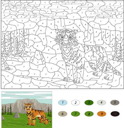 세이버 이빨 호랑이. 아이들을위한 숫자 교육 게임으로 색상. 초등 학생 및 유치원을위한 일러스트레이션