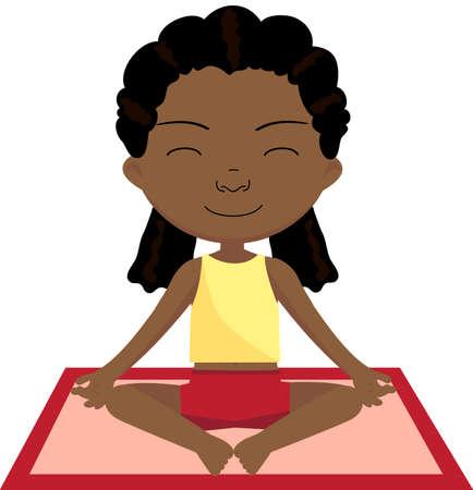 spring balance: African girl doing yoga exercise. Vector cartoon illustration
