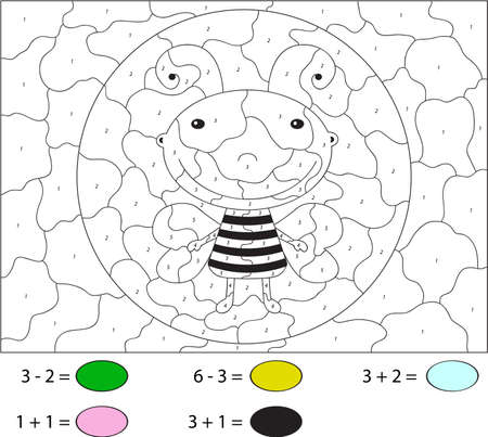 pollinate: Funny cartoon bee. Color by number educational game for schoolchild and preschool kids Illustration