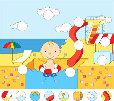 rubber ring: Boy with a rubber ring in the water park swimming pool. Complete the puzzle and find the missing parts of the picture. Educational game for kids Illustration