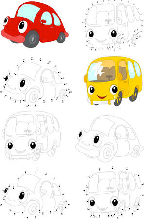 Cartoon red car and yellow bus. Coloring book and dot to dot educational game for kids Stock Illustratie