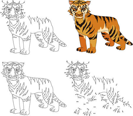 Cartoon saber-toothed tiger. Coloring book and dot to dot educational game for kids Illustration