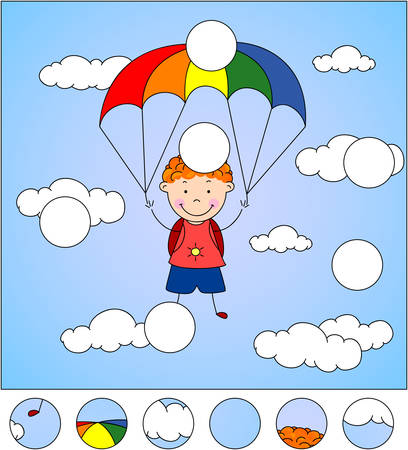 descend: Boy parachutist descends from the sky on a parachute through the clouds. Complete the puzzle and find the missing parts of the picture. Educational game for kids Illustration
