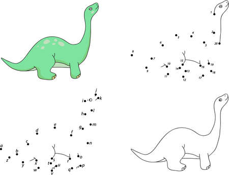 diplodocus: Cartoon diplodocus. Coloring book and dot to dot educational game for kids
