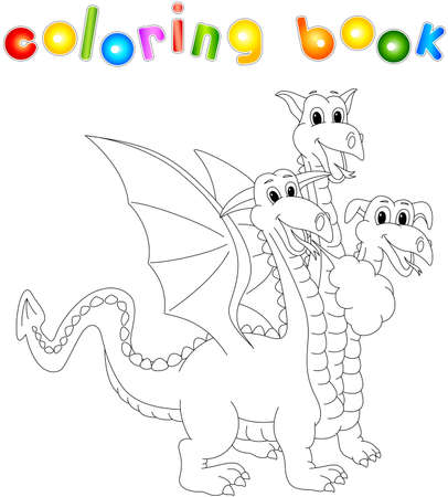 Funny and friendly cartoon three headed dragon. Coloring book for kids Illustration
