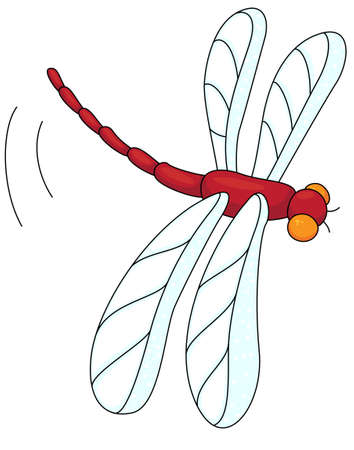 wispy: Cartoon red dragonfly isolated on white