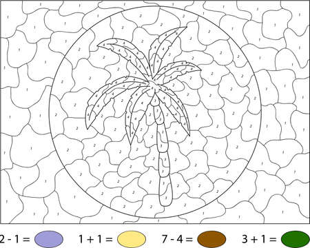 coloration: Cartoon palm tree. Color by number educational game for schoolchild and preschool kids