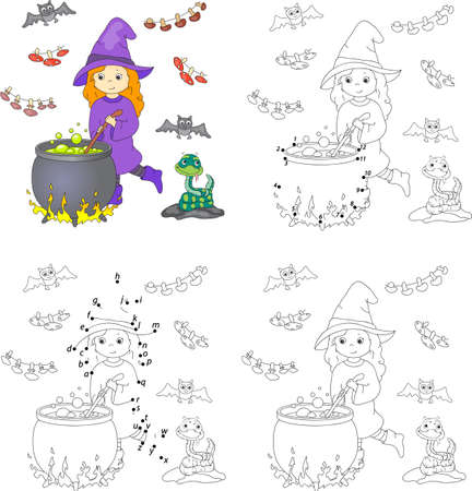 boils: Pretty friendly witch brews a potion. Magic potion boils in a cauldron. Coloring book and dot to dot educational game for kids