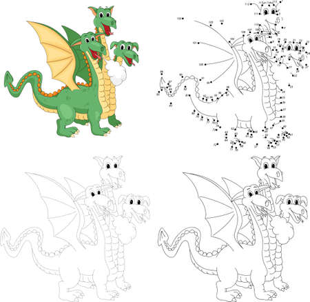 headed: Cartoon funny three headed dragon. Dot to dot educational game for kids Illustration