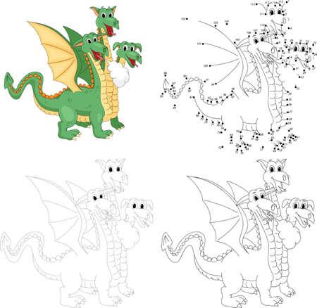 Cartoon funny three headed dragon. Dot to dot educational game for kids Illustration