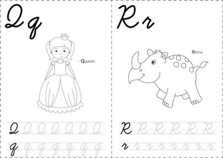 phonetic: Cartoon queen and rhino. Alphabet tracing worksheet: writing A-Z, coloring book and educational game for kids