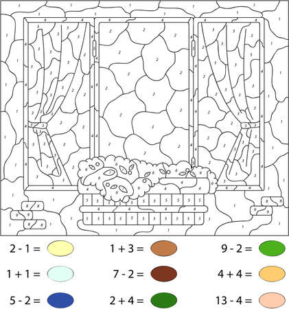 educational problem solving: Window with flower pots and curtains. Color by number educational game for schoolchild and preschool kids