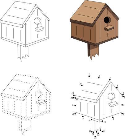 Cartoon nesting box. Dot to dot educational game for kids Illustration