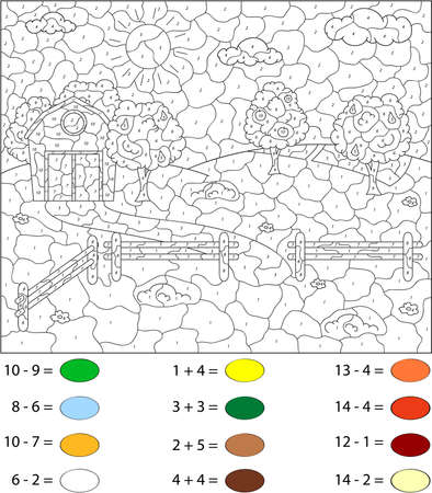 rural areas: Rural landscape with barn, corrals, fruit-trees and fields. Color by number educational game for schoolchild and preschool kids Illustration
