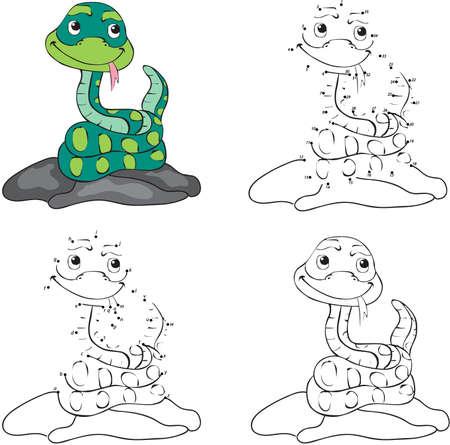 serpiente caricatura: Serpiente de la historieta. libro para colorear y punto a punto juego educativo para niños