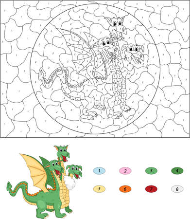 Cartoon three headed dragon. Color by number educational game for kids. Illustration for schoolchild and preschool