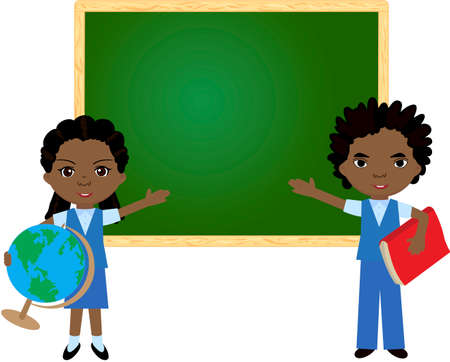 african boy: African boy and girl standing near the blackboard in a classroom. Vector illustration for children