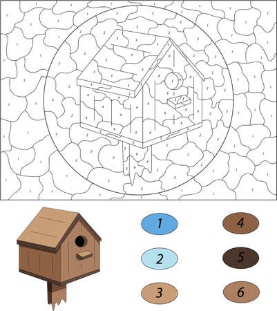 nesting box: Cartoon nesting box. Color by number educational game for kids. Illustration for schoolchild and preschool