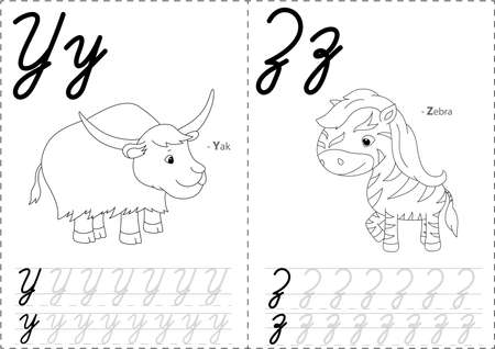 phonetic: Cartoon yak and zebra. Alphabet tracing worksheet: writing A-Z, coloring book and educational game for kids