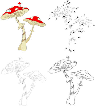 mushroom house: Cartoon mushroom house. Dot to dot educational game for kids Illustration