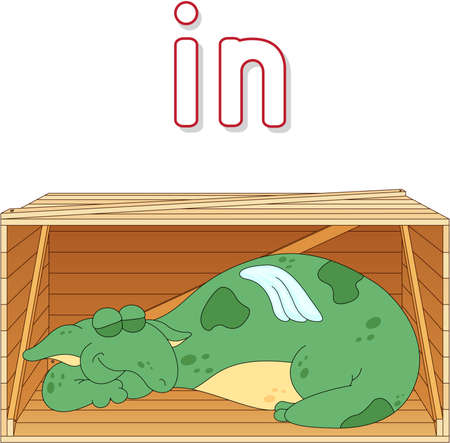 preschoolers: Cartoon dragon sleeps in a box. English grammar in pictures for students, pupils and preschoolers