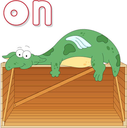 grammatical: Cartoon dragon lies on a box. English grammar in pictures for students, pupils and preschoolers Illustration
