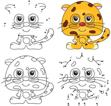 cartoon jaguar: Cartoon jaguar. Coloring book and dot to dot educational game for kids