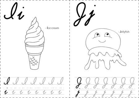 ice alphabet: Cartoon ice cream and jellyfish. Alphabet tracing worksheet: writing A-Z, coloring book and educational game for kids Illustration