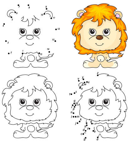 Cartoon lion. Coloring book and dot to dot educational game for kids