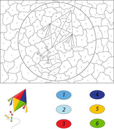 hollyday: Cartoon colorful kite. Color by number educational game for kids. Illustration for schoolchild and preschool