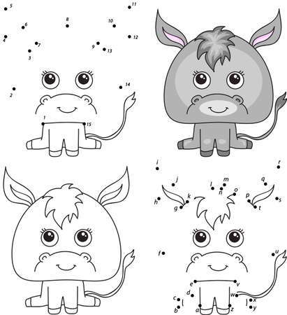 Cartoon donkey. Coloring book and dot to dot educational game for kids
