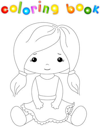 rag: Cute fabric doll isolated on white. Coloring book for kids