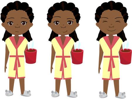 red bathrobe: Sad, pensive and happy african girl, sleepy and cheerful. Cartoon illustration