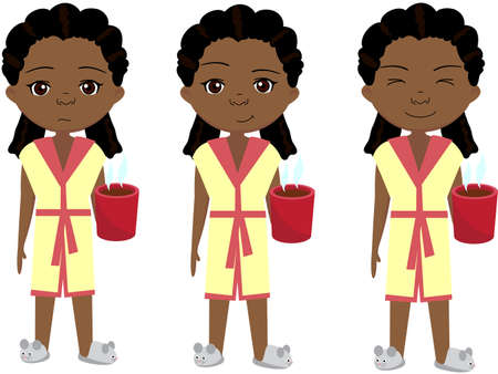 Sad, pensive and happy african girl, sleepy and cheerful. Cartoon illustration