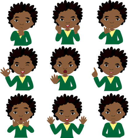 african boy: African boy doubts, rejoices, angry and gives advice. Cartoon illustration