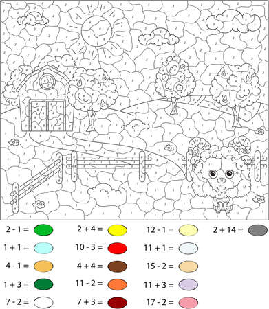 sheep barn: Rural landscape with sheep, barn, corrals, fruit-trees and fields. Color by number educational game for schoolchild and preschool kids