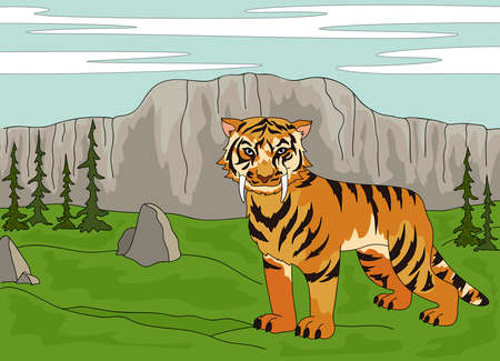 ice age: Cartoon saber-toothed tiger on the background of a prehistoric ice Age nature Illustration