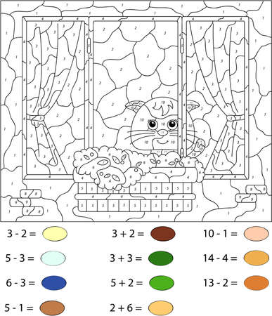 educational problem solving: Window with a cat, flower pots and curtains. Color by number educational game for schoolchild and preschool kids