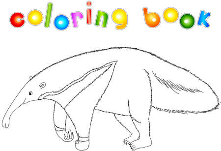 Funny cartoon ant-eater isolated on white. Coloring book for kids